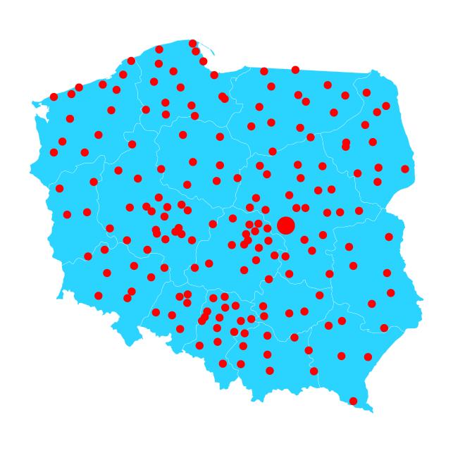 Miejscowości mapa polski